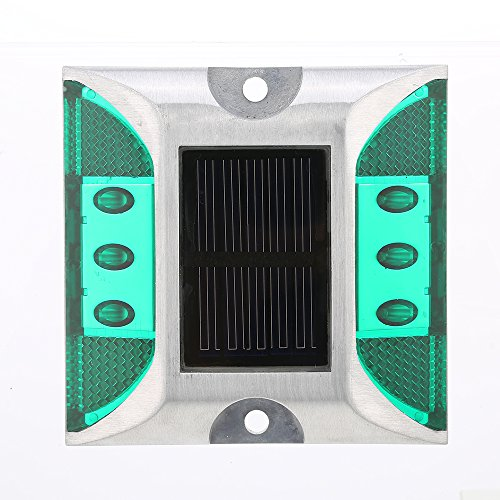 GXG-1987 2Pcs Waterproof Solar Powered Outdoor In-Ground Light Driveway LED Lamp Light Road Stud Pathway Marker Light - Green (Driveway Lighting Markers Outdoor)