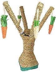 Hamiledyi Pet Bunny Fun Tree Rabbit Chew Toy Rattan Grass Scratcher Climbing Tree Play Carrot Toy for Small Animal