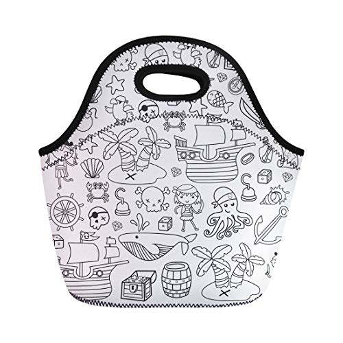 Semtomn Lunch Tote Bag Children Playing Pirates Boys and Girls Kindergarten School Preschool Reusable Neoprene Insulated Thermal Outdoor Picnic Lunchbox for Men -