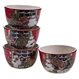 Certified International Snowman's Sleigh Ice Cream Bowls (Set of 4), 5.25'', Multicolor