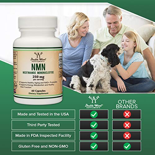 51lWlSmTWwL - NMN Supplement 250mg Per Serving (Nicotinamide Mononucleotide), Third Party Tested, to Boost NAD+ Levels Similarly to Riboside for Anti Aging by Double Wood Supplements (125mg Per Cap, 60 Capsules)