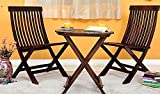 JS Home Decor Set Of 3 Piece Dining Set Folding Chair And Round Table (Walnut Finish)