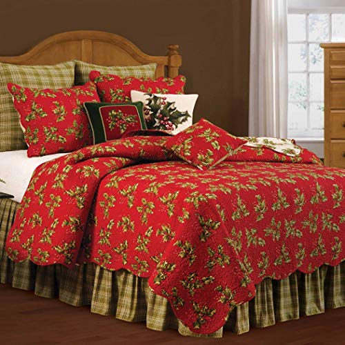1pc Festive Red Gold Green King Quilt, Christmas Themed Bedding Holly Leaves Merry Warm Stylish Chic Trendy Modern Winter Mistletoe Cute Botanical Holiday Floral, Cotton