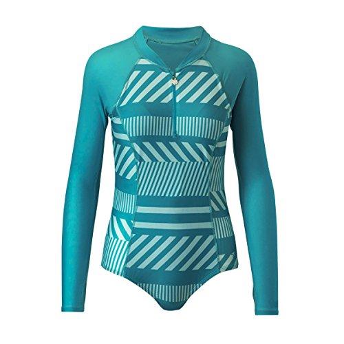 (UV SKINZ UPF 50+ Women's Long Sleeve Half-Zip Swimsuit (XS, Teal Crossroads))
