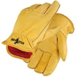 Galeton 2600-L 2600 Rough Rider Insulated Premium Leather Driver Gloves, Flannel Lined, Large, Gold, (Pack of 12)
