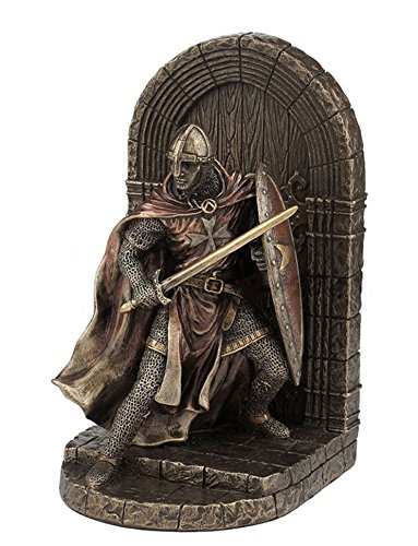 7.75 Medieval Armored Maltese Crusader Bookend Knight Statue Warrior Sculpture