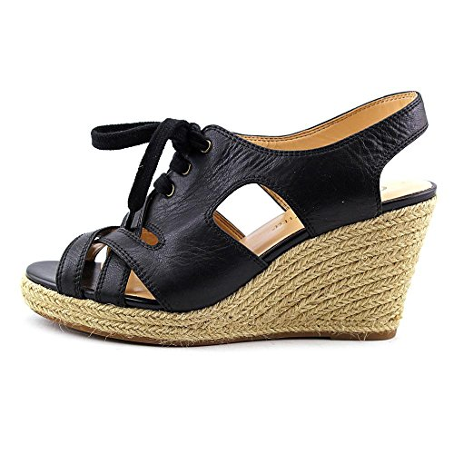 Bella Vita Womens Gracia Espadrille Wedge Sandal Black Leather