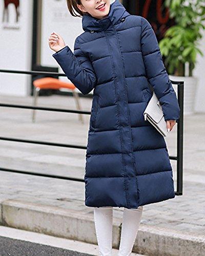 Doudoune Femmes au De Veste De Mince Chaud Duvet Manteau Garder Longue Bleu Capuche Manteau rqtqgn