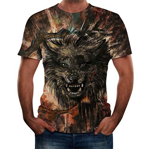 Thenxin Mens Fashion T Shirt 3D Wolf Print Crewneck Short Sleeve Tee Tops(Green,XL