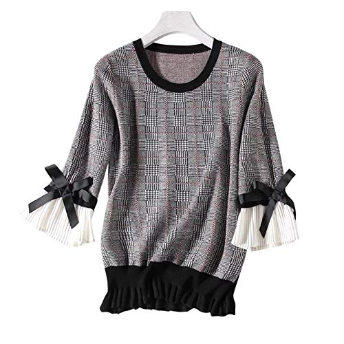 Cashmere Sweater Cashmere Sweaters Crochet Cable Pattern Crew Neck Long Sleeve Cashmere Jumpers for Petite Women (S, D-Grey)