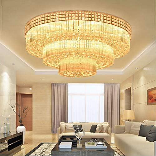 MoreChange 31.5inch Crystal Chandelier Luxury Ceiling Lamp Flush Mount Modern LED Ceiling Light Fixture Pendant Lamp