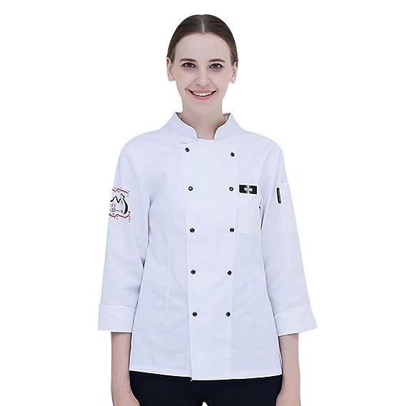 Dooxii Unisex Donna Uomo Autunno Manica Lunga Giacca da Chef Traspirante  Torta di Cottura Hotel Mensa 5ea7358d1394