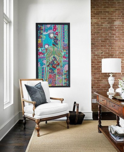 (wall art Tapestry Antique Handmade Embroidered Patchwork Vintage Wall Hanging)