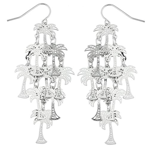 Lux Accessories SilverTon Palm Tree Tropical Vacation Chandelier Dangle Earrings (Tree Tropical Palm Earrings)