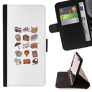 BullDog Case - FOR/Samsung ALPHA G850 / - / hot dog pattern peach color art travel /- Monedero de cuero de la PU Llevar cubierta de la caja con el ID Credit Card Slots Flip funda de cuer