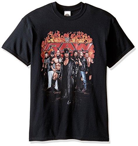 WWE Men's Big and Tall Raw Flames T-Shirt, Black, 3XL