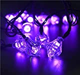 Rextin 20ft 30 LED Diamond Solar String Lights Purple Waterproof Outdoor for Garden Patio Fence Path Landscape Wedding Party Christmas Decoration (Purple)