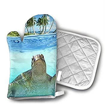 NoveltyGloves Pot Holders and Oven Mitts 1 Hot Pads and 1 Potholders Set with Cute Sea Turtle Print