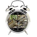 Children's Room Silver Dinosaur Silent Alarm Clock Twin Bell Mute Alarm Clock Quartz Analog Retro Bedside and Desk Clock with Nightlight-342.444_Nature Animal Wildlife Reptile Iguana