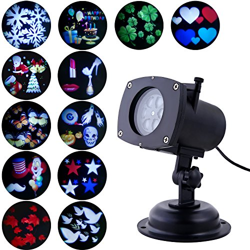 Maple 12 String - Projector Lights, Oxyled LED Party Projection Lamp, Colorized Auto Moving LED String lights With 12 Lighting Modes, 6 LED, Waterproof for Party & Holiday, Black