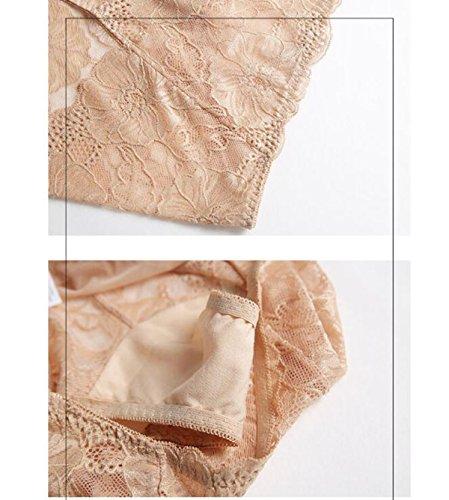 POKWAI 3 Paquete Mujer Tentación Atractiva De Encaje Transparente Rastros De La Cintura De La Cintura De La Muchacha De La Ropa Interior De La Entrepierna De Algodón Puro A5