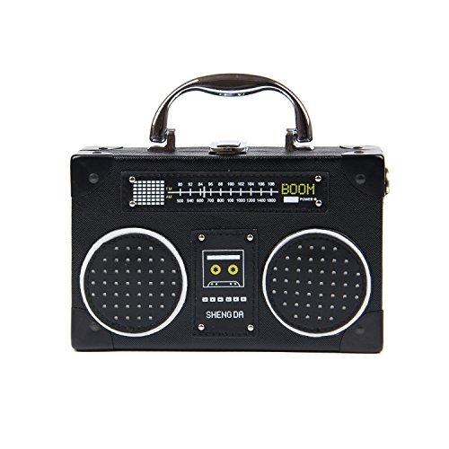 Kuang Women's Retro Radio Shaped Clutch Shoulder Bag Novelty Vintage Style Crossbody Bag Handbag -