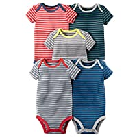 William Carter Baby Boys' 5 Pack Colored Bodysuits (Baby) Stripes, 9 Months