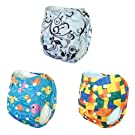 Alva One Size Washable Reusable Pocket Antibacterial Bamboo Cloth Diapers 3pcs with 3 4-layer Bamboo Viscose Inserts3BM88