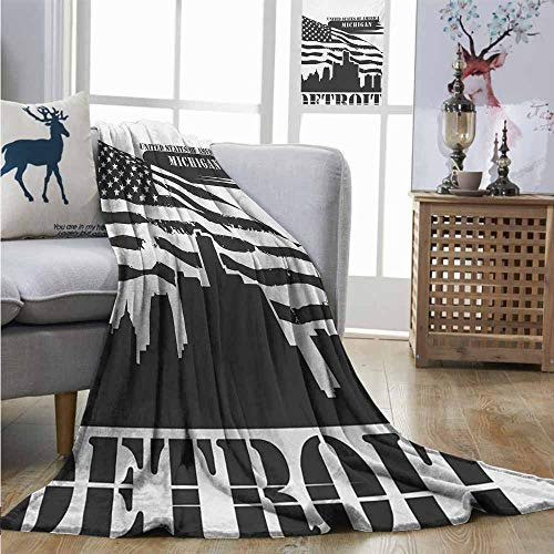 Degrees of Comfort Weighted Blanket Detroit Monochrome Grunge City Silhouette American Flag United States Michigan Full Blanket W60 xL91 Charcoal Grey White