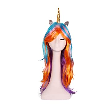 Cosplay Long Curly Wig Halloween Unicorn Colorful Wig Festive Magic Pony Princess Cloud Anime Wig