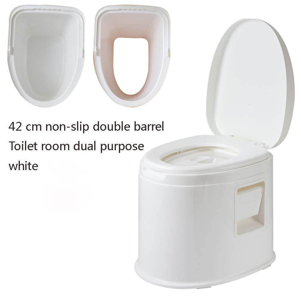 Tragbares WC Ältere  Herrenchen Schwangere Frauen Zimmer Abnehmbare Einfache Kunststoff-WC-Sitz-WC,Weiß