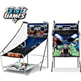 Foldable and Lightweight MD 3-In-1Sports,Basketball,Baseball & Football Games,Includes: 3 Basketballs, 2 Footballs, 2 Baseballs, 1 air Pump,Makes an Action Packed Gift for Kids