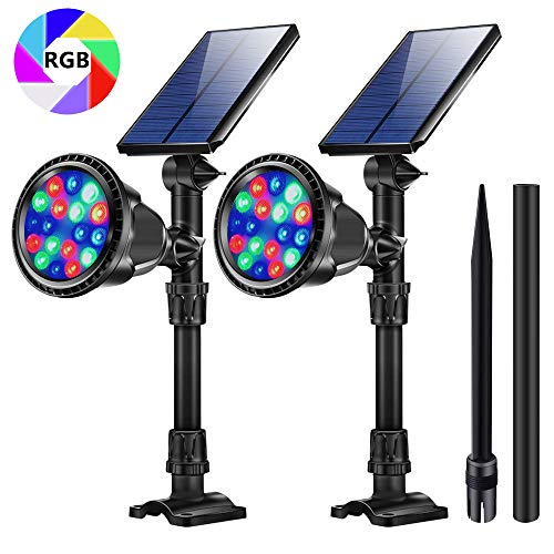 JSOT RGB Outdoor Solar Path Lights, 18 LED Spotlight Waterproof Landscape Lights Solar Security Lamps with 9 Light Modes for Flag Tree Garage Deck Garden Wall Backyard