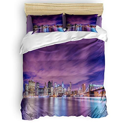 (Home Bedding 4 Piece Set Queen Size Include Duvet Cover, Flat Sheet, Pillow Shams City Night Pier Building Printing Soft Duvet Cover Set for)
