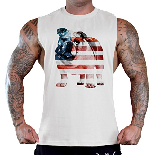 Bulldogs T-shirts Tank Tops (Men's American Flag English Bulldog Tee B745 PLY White T-Shirt Tank Top X-Large)