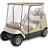 North East Harbor Waterproof Superior Beige and Transparent Golf CART Cover Covers Enclosure Club CAR, EZGO, Yamaha, FITS Most Two-Person Golf CARTS