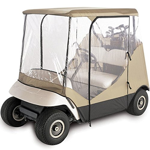 WATERPROOF SUPERIOR BEIGE AND TRANSPARENT GOLF CART COVER COVERS ENCLOSURE CLUB CAR, EZGO, YAMAHA, FITS MOST TWO-PERSON GOLF CARTS