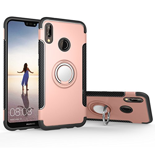 Orzero TPU + PC Hybrid Dual Layer Case For Huawei P20 Lite Full Body Heavy Duty Protection 360 Rotating Metal Ring [Adsorbed iron Plate] (Huawei P20 Lite Not Included)-Rose Gold