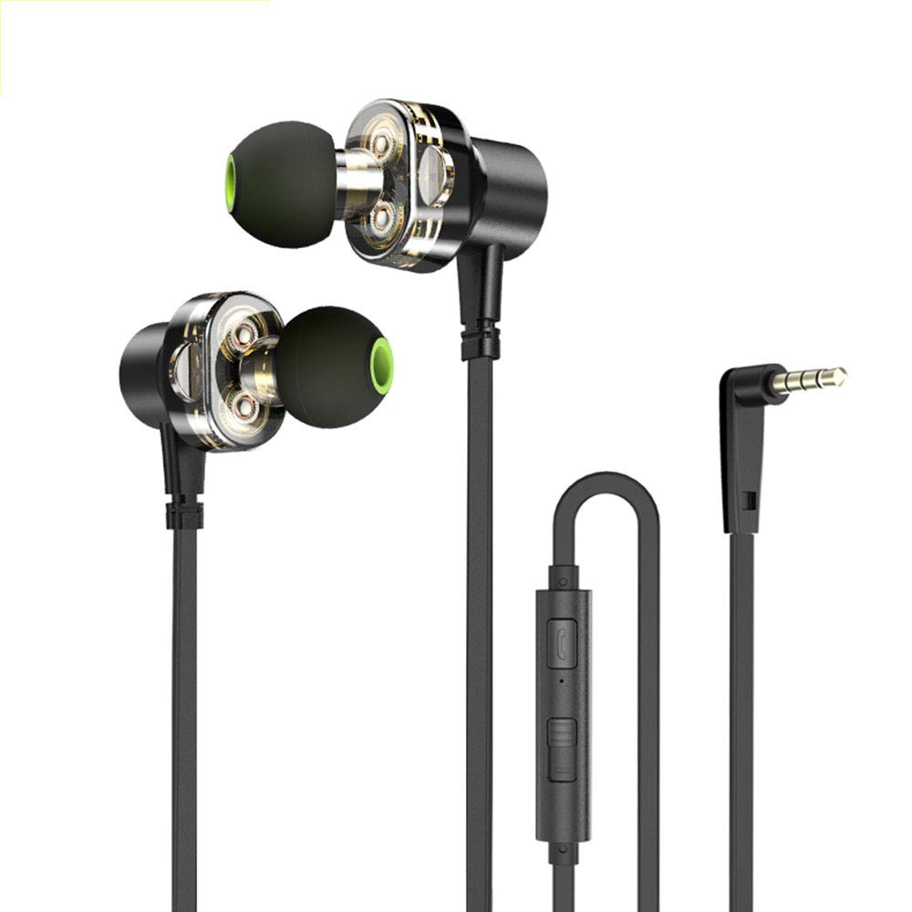 JBAG-one Wired Earphone Dual Driver Headset Sport Bass Sound Earphones with Mic for Xiaomi Huawei Oneplus MP3 3.5mm Jack Earbuds