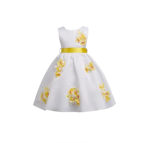 YuanDian Bambine e Ragazze Vestiti Da Principessa Fiore Cintura Senza  Maniche Compleanno Partito Matrimonio Cerimonia Vestito 849817299dc