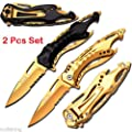 MTECH Sports Spring Assisted Knives w/ Gold Titanium Coated Blade SET (Limited Edition)