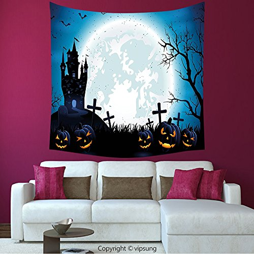 House Decor Square Tapestry-Halloween Decorations Spooky Concept With Halloween Icons Old Celtic Harvest Festival Figures In Dark Image Decor Blue_Wall Hanging For Bedroom Living Room (Halloween Harvest Festival United States)