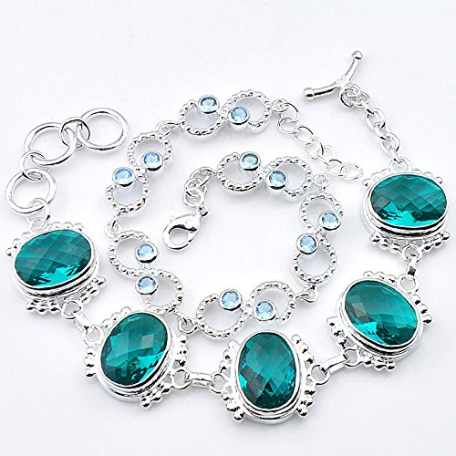 - patcharin shop Mixed Lady 2pcs 1 Lot Oval Green Topaz Ocean Blue Topaz Silver Chain Bracelet