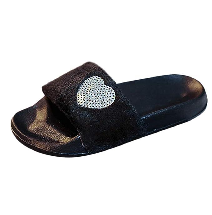 6551bbdae38b7 Amazon.com: Women Sandal Flat Indoor Outdoor Flip Flop Furry Slides ...