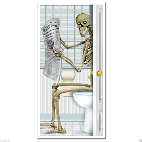 Halloween Haunted House Party Prop Skeleton Bathroom Restroom Wall Door (2016 Dollar Iron Man Costume)