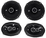 Package: Pair of Kicker 43DSC69304 6''x9'' 360 Watt 3-Way Speakers With 4-Ohm Impedance + Pair of Kicker 43DSC6504 6.5'' 240 Watt 2-Way Coax Car Stereo Speakers