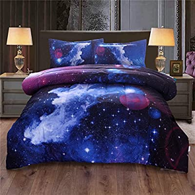 NTBED Galaxy Comforter Set Full, Sky Oil Printing Outer Space Reversible Quilt Bedding set