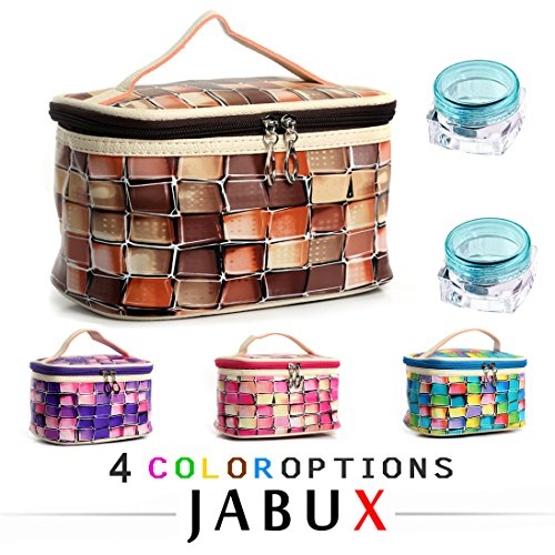 Makeup Samples Free (JABUX PU lattice Cosmetic Bag Coffee Travel Toiletry Cosmetic Makeup Bag Organizer With Mirror 1 pcs (Free 3 gram Cosmetic Sample Containe 2 Pieces) (Style 4))
