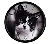 Luckly candy Cute Cat theme Background Super Silent Wall Clock Quiet Sweep Decorative Clocks (10Inch, Black2) Review