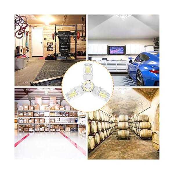 LED Garage Lights 125W Ceiling Lights E26 Deformable Three-Leaf Garage Light 14,000lm Tribright LED Adjustable Light… 7